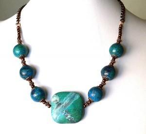 Yellow Turquoise and Copper Necklace Photo