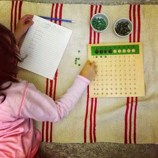 Montessori Maths {Multiplication and Sequin Board}