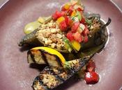Fire Roasted Poblano Chilies Filled with Corn, Quinoa, Goat Cheese