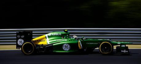 A Caterham F1 car during 2013 Hungarian Grand Prix. (Credit: Charles Coates / LAT Photographic via Flickr @ CaterhamF1 http://www.flickr.com/photos/caterhamf1/)