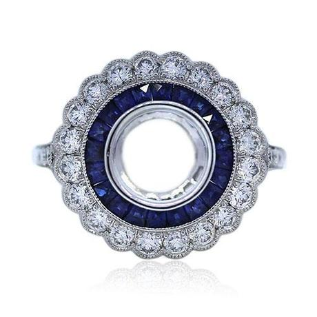 Platinum Diamond and Sapphire Engagement Ring Mounting