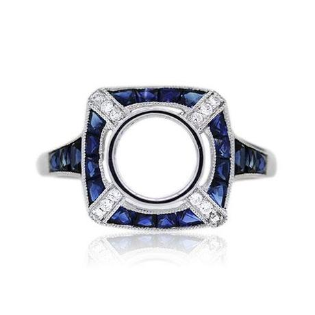 Platinum Art Deco Inspired Diamond and Sapphire Bezel Set Mounting