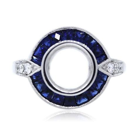 Platinum Art Deco Style Diamond and Sapphire Engagement Ring Mounting