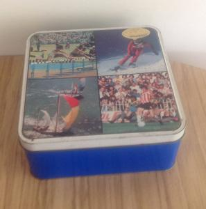 Retro vintage thrifted biscuit cake tin cookie cracker