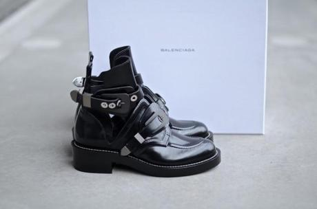 Black buckled balenciaga cutout boots silver hardware