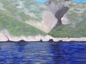 Painting Sea, Mountains, Cliffs, Samos Greece