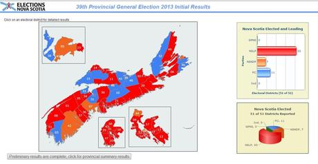 Nova Scotia 2013 Election Results Map - red for Liberals, blue for PC and orange for NDP