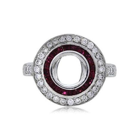 Platinum Vintage Style Ruby and Diamond Engagement Ring Halo Mounting