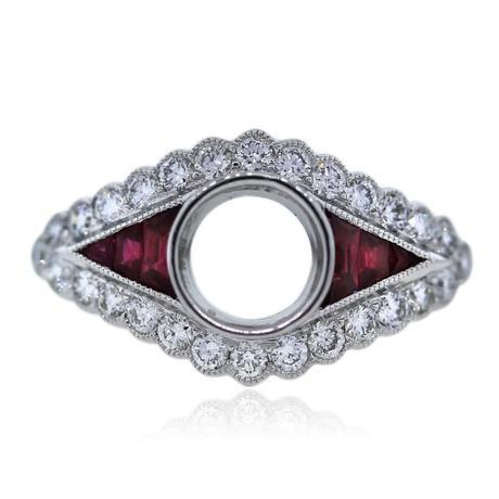 Platinum Art Deco Diamond and Ruby Engagement Ring Mounting