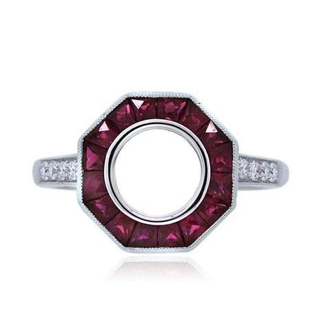 Platinum Vintage Style Ruby and Diamond Engagement Ring Mounting
