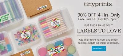 Four Hours Only! Save 30% off of Tiny Prints Name Labels!