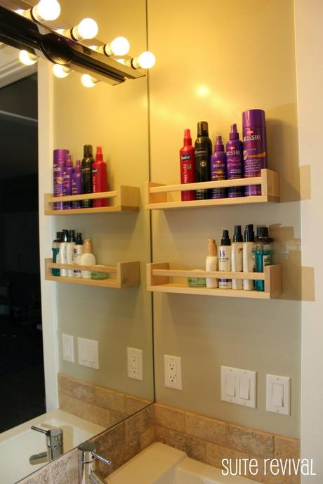 Organize your bathroom by adding a spice rack!