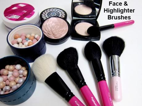 face and highlighter brushes