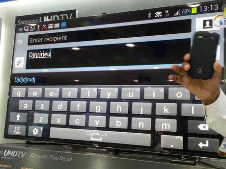 The Messaging App of the Smartphone being operated from the TV