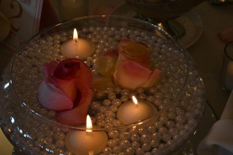 Floating Candles and Pearls Wedding Centerpiece