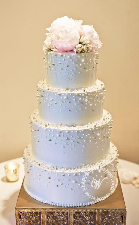 Scattered Pearl Tiered Wedding Cake