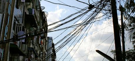 Electricity infrastructure in Yangon, Myanmar. (Credit: Flickr @ Rebekah http://www.flickr.com/photos/chubekkah/)