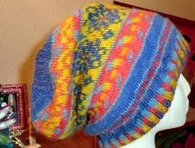 Fair Isle Slouch Hat Finished