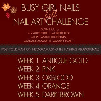 Busy Girl Nails Fall Nail Art Challenge - Antique Gold