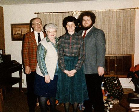 Family with grown children, 1985, Christmas
