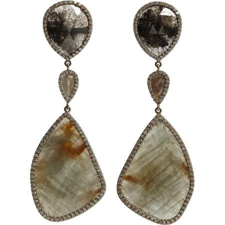 Monique Pean Opaque Grey diamond and sapphire earrings