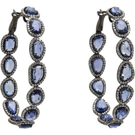 Monique Pean Diamond and Sapphire slice hoop earrings