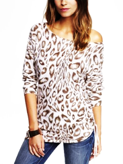 Express LEOPARD PRINT SIDE RUCHED TUNIC SWEATER