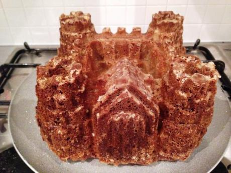 silicon castle cake mould recipe freshly baked and cooled cake turned out of the tin perfectly