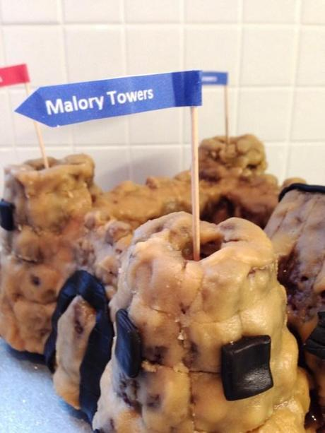 malory towers flags on castle cake caramel icing turret tower enid blyton