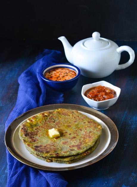 Palak Paneer Paratha Recipe   How To Make Paneer Paratha   Palak Paratha