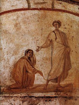 Jesus Healing a bleeding woman from Marcellinus Peter Catacomb
