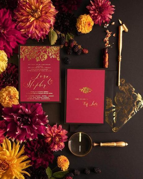 fall wedding invitations burgundy
