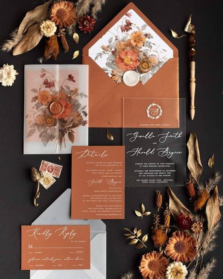 fall wedding invitations copper colors wedding