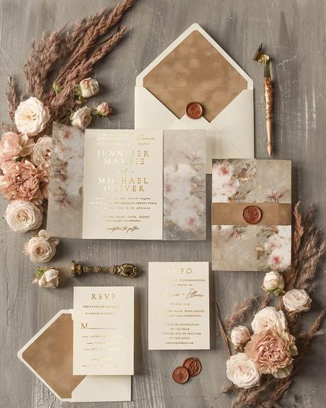 fall wedding invitations classic pastel