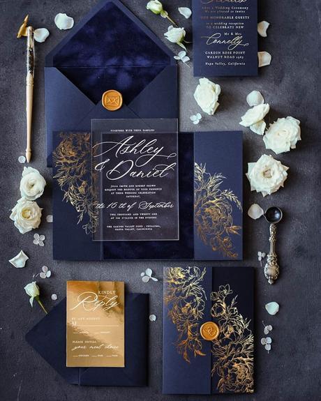 fall wedding invitations navy blue velvet