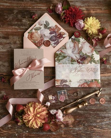 fall wedding invitations flowers watercolor