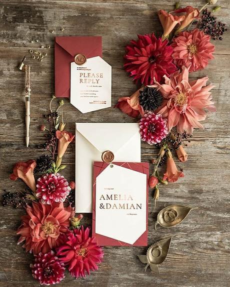 fall wedding invitations copper autumn wedding