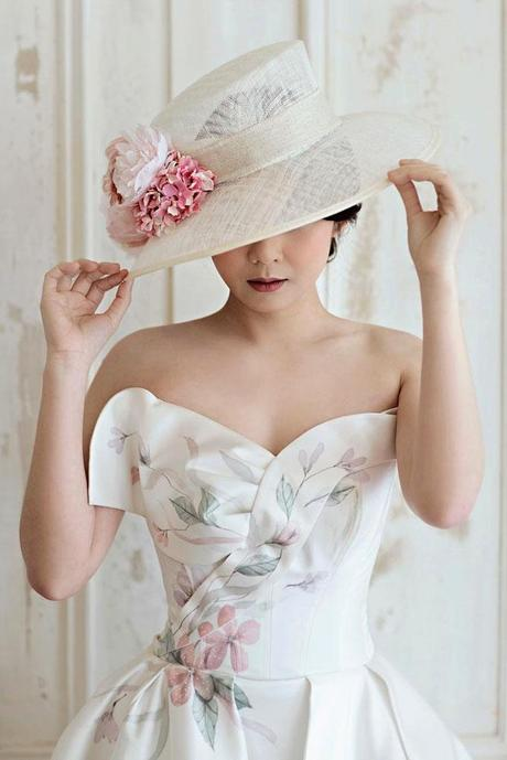 wedding hat with rose flower