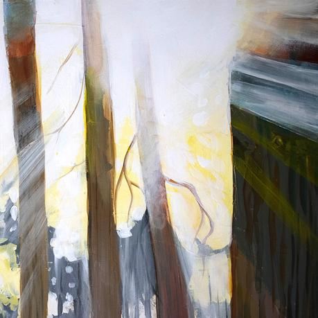 Painting of Sun Through Trees: New Day
