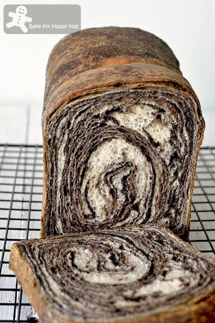 best super soft black sesame marble bread