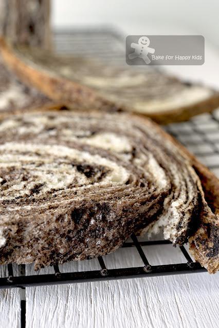 super soft black sesame marble swirl bread