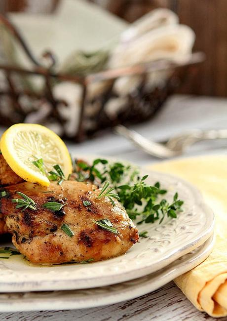 Barbecued Limoncello Chicken Thighs with Fresh Herbs
