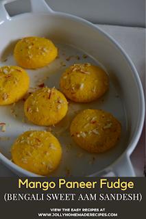 Aam Sandesh Recipe | How to make Mango Sandesh | Mango Paneer Fudge(Video)