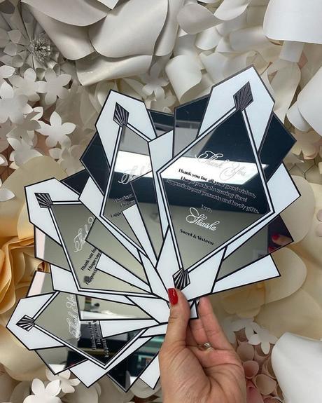 wedding thank you ideas silver mirror acrylic card