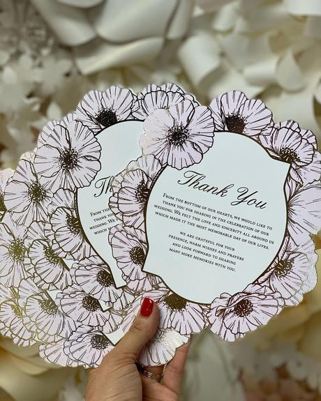 wedding thank you ideas flower metallic cards