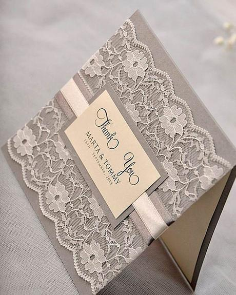 wedding-thank you ideas thank you cards lace