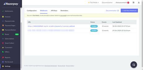 Configuring Razorpay Webhook