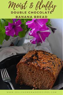 Double Chocolate Banana Bread | Chocolate Banana Bread | Healthy Whole Wheat Banana Bread