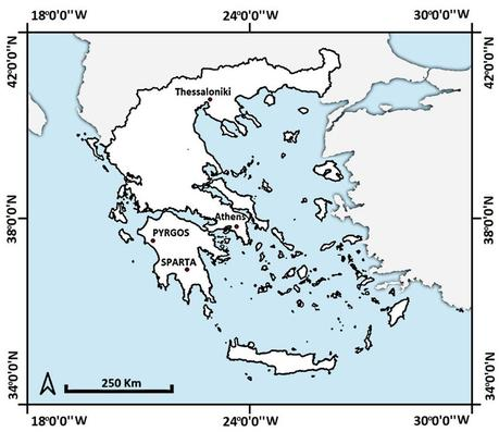How did sparta get destroyed? Map Of Greece With The Location Of Sparta And Pyrgos Download Scientific Diagram