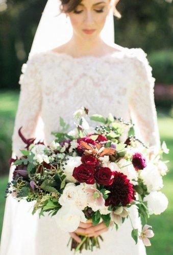 wedding bouquets 2019 bouquet with burgundy accent Rebecca Arthurs